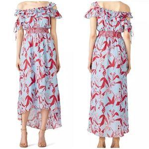 Tanya Taylor Parrot Tulip Meegan Dress 8 Silk